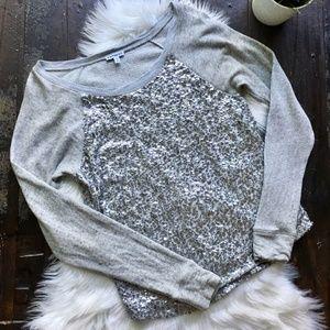 EXPRESS Wide Neck Sequin Gray Raglan Pullover